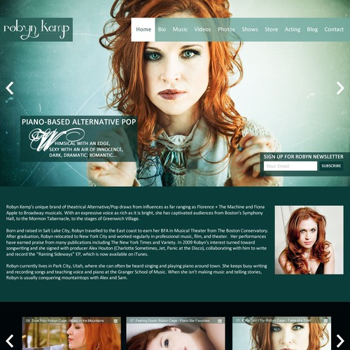 Design a homepage for Alternative/Pop musician Robyn Cage