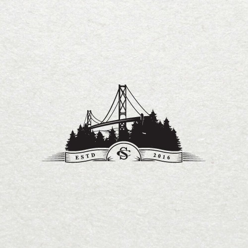 Bridge and forest logo concept