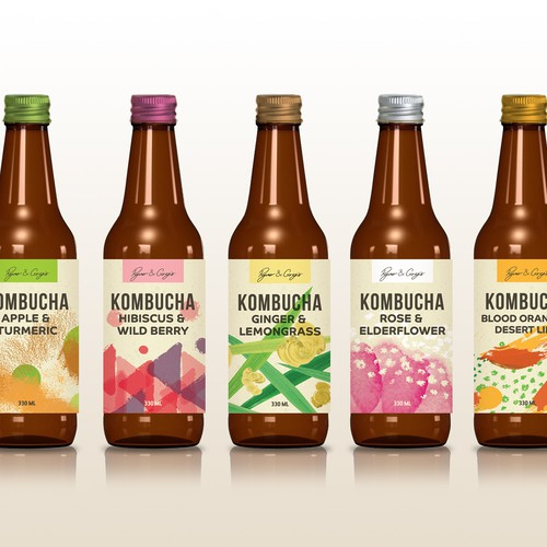bottle labels for a healthy drinks brand
