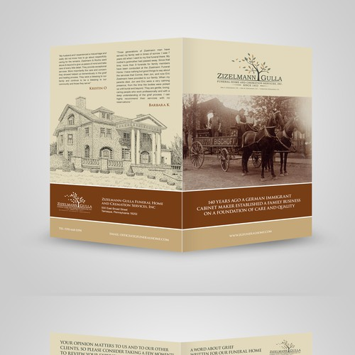 Create an professional, engaging brochure for our funeral home about managing grief.