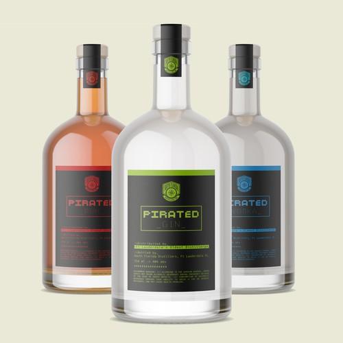 Pirated spirits-label design