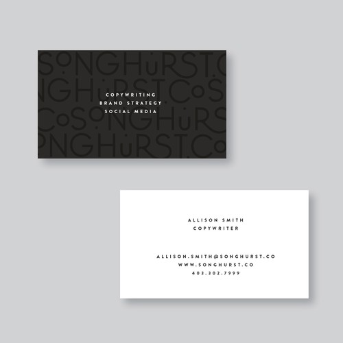 Songhurst.co business card layout variations