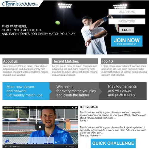 Tennis Ladders Landing Page