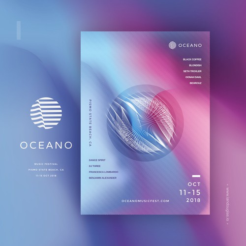 Minimalist mark and vibrant collaterals for Oceano Music Fest
