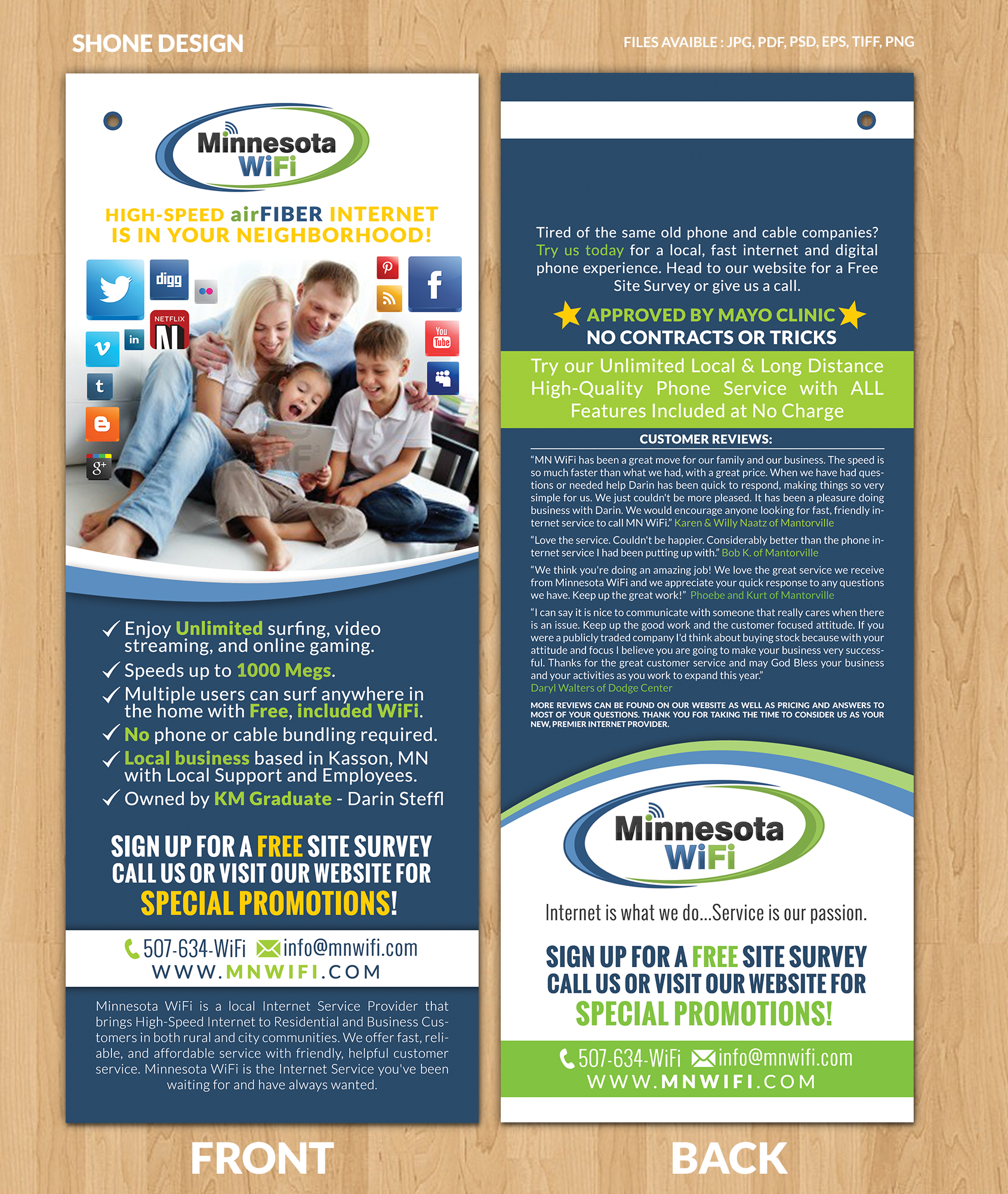 All info provided to create a FUN door flyer for internet provider