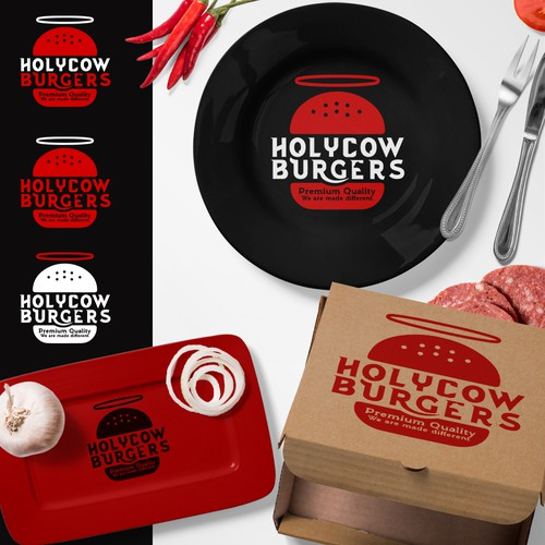 Logo Design for HolyCow Burgers in Saudi Arabia