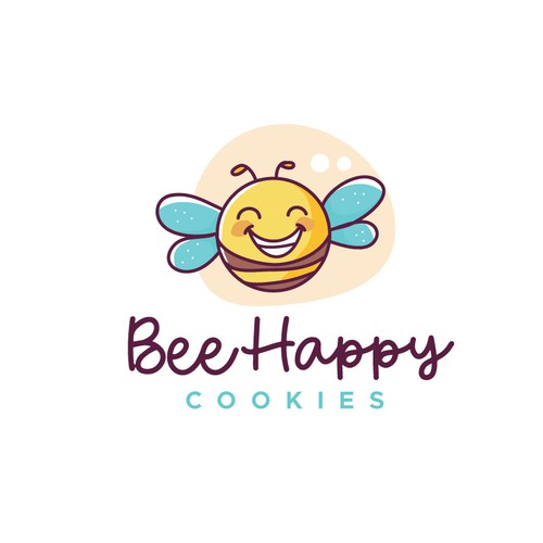 Cute bee cookie logo