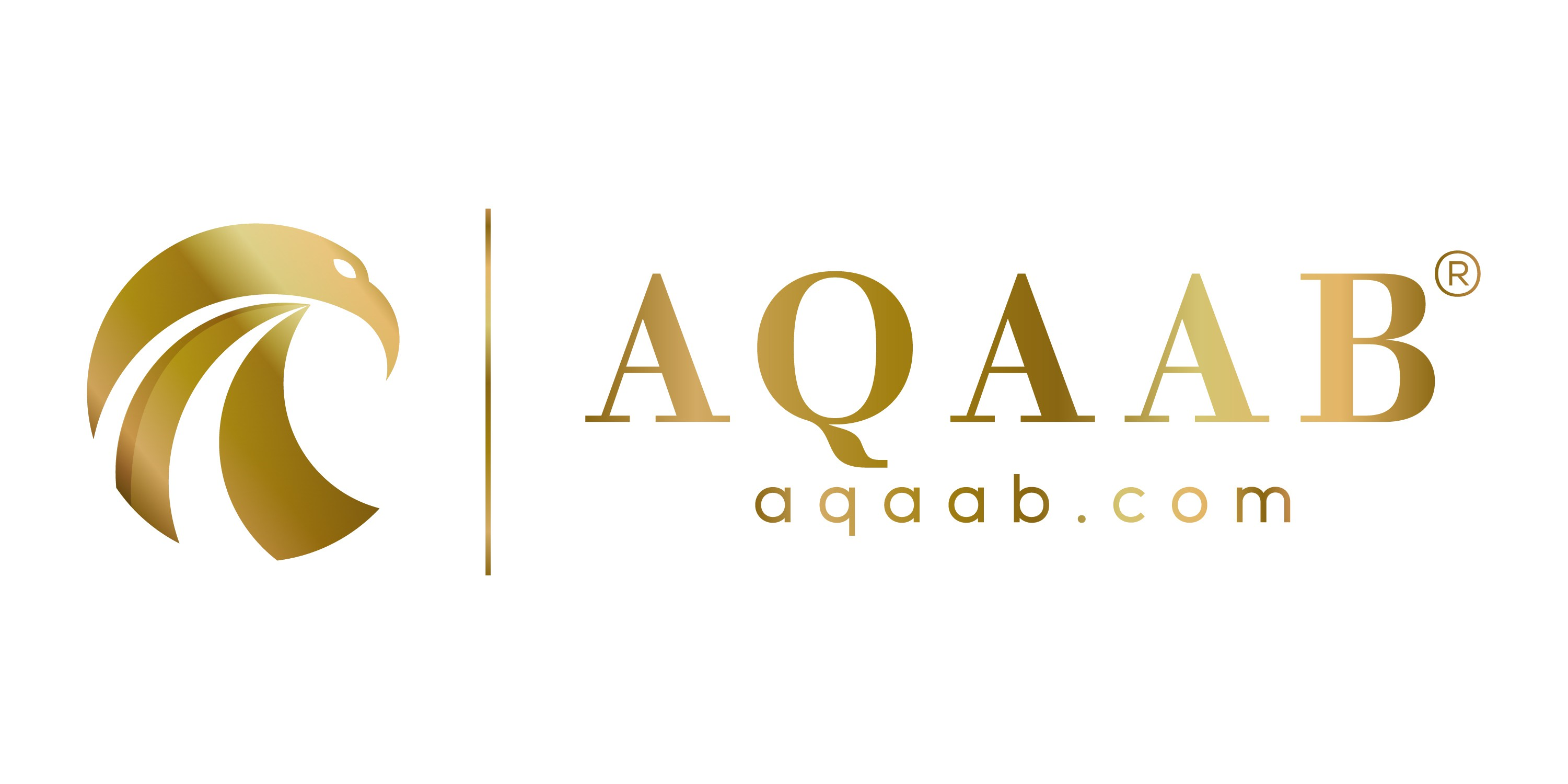 A black background With gold text and under the logo there must be AQAAB.com