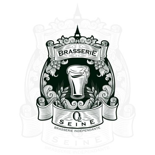 Brasseries O2 Seine Logo Design