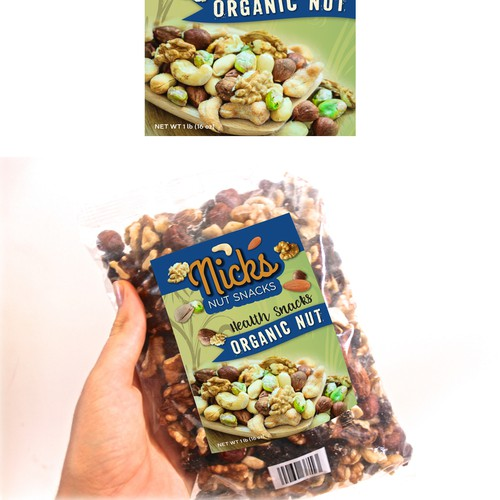 Mix nuts, health snacks label design