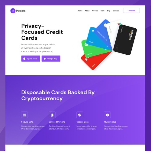 Credit Card, Backed By Cryptocurrency Landing Page