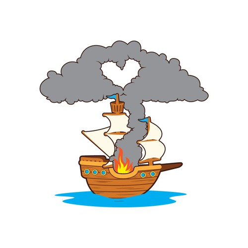 Image only Burning ship with love