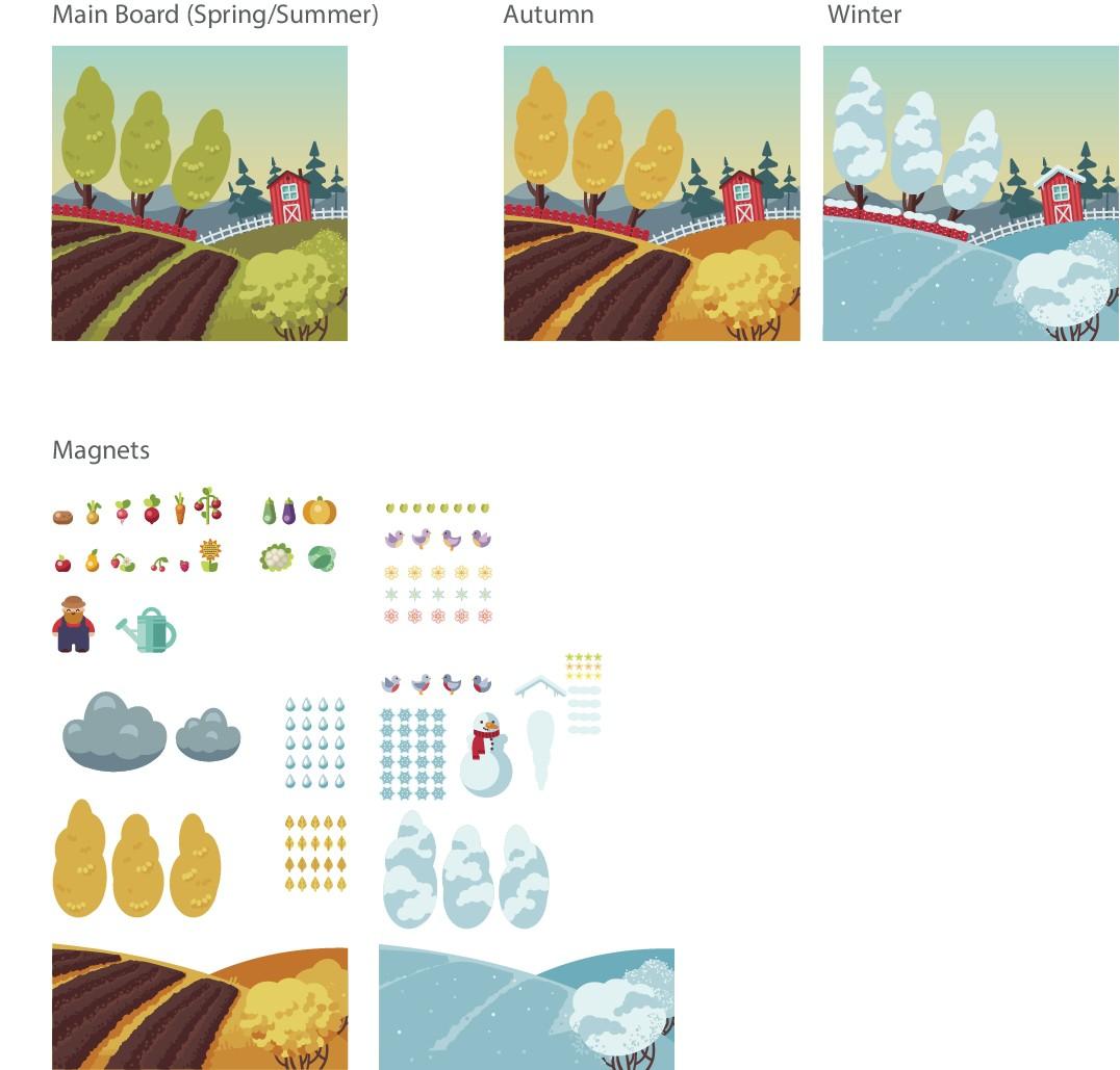 Illustration of a garden for educating kids of seasonal  food