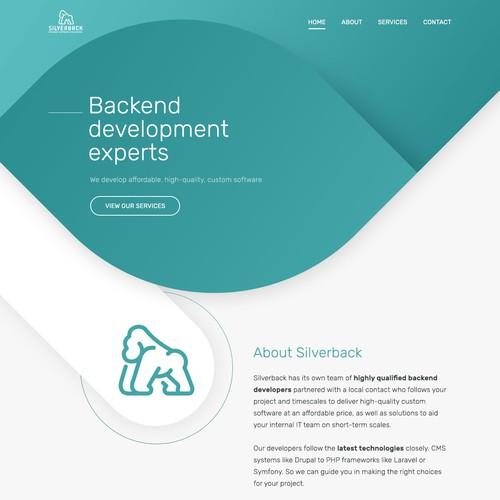 Modern design for a backend development company