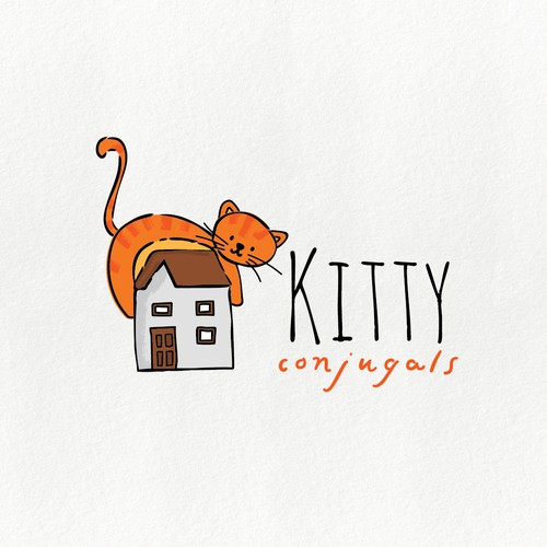 Whimsical cat sitter logo