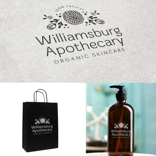 Create a modern, simple, organic logo for Williamsburg Apothecary