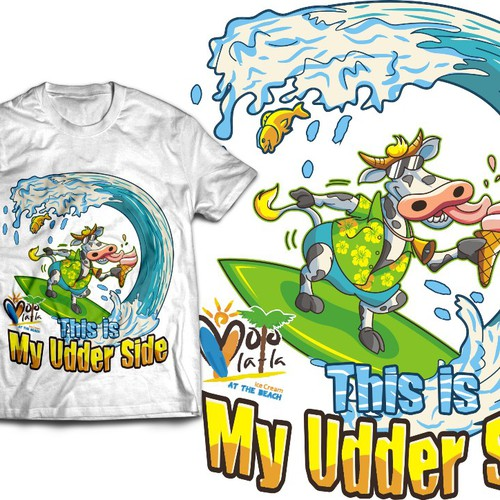 Create a Cool Surfing Cow t-shirt/tank top for Moo La La at the Beach