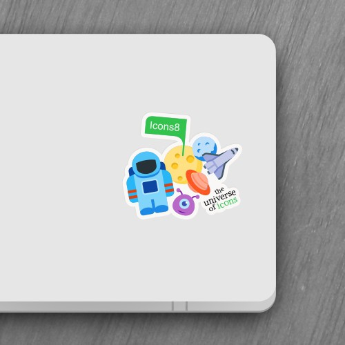 Icons8 sticker for the back of a laptop