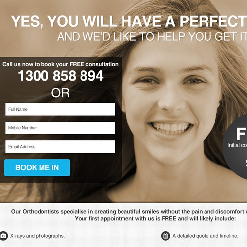 Responsive Invisalign Landing Page for Teenage Girls