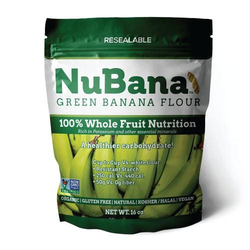 NuBana Green Banana Flour packaging design