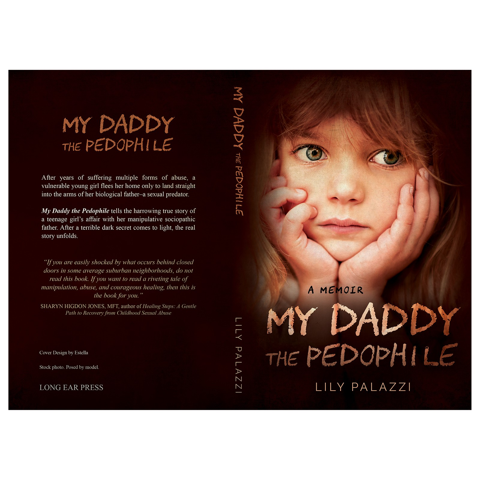 Create a book cover for a memoir about a girl's affair with her father—a sexual predator
