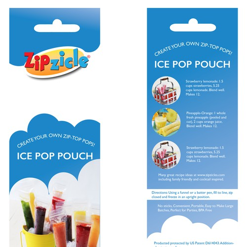 New Package design: Zipzicle® ice pop pouches - worldwide distribution