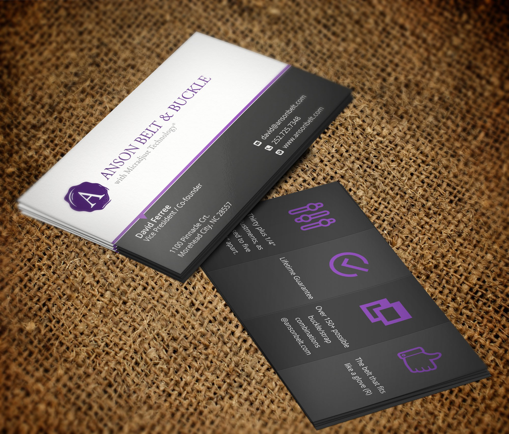 Design a business card for the belt of the future...