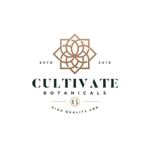Modern geometric logo for Cultivate Botanicals,  CBD Company looking for a lifestyle brand logo