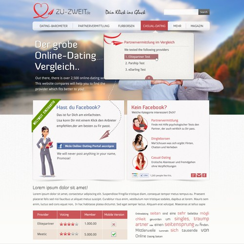 New website design wanted for Online Dating Comparison Website