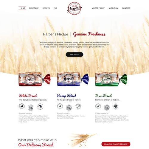 Website Concept Design for a Bakery