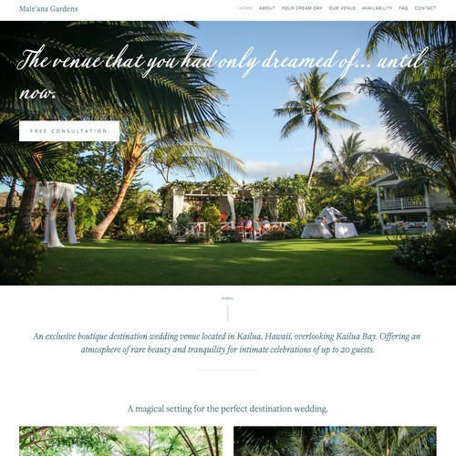 Web Design for New Destination Wedding Venue in Hawaii