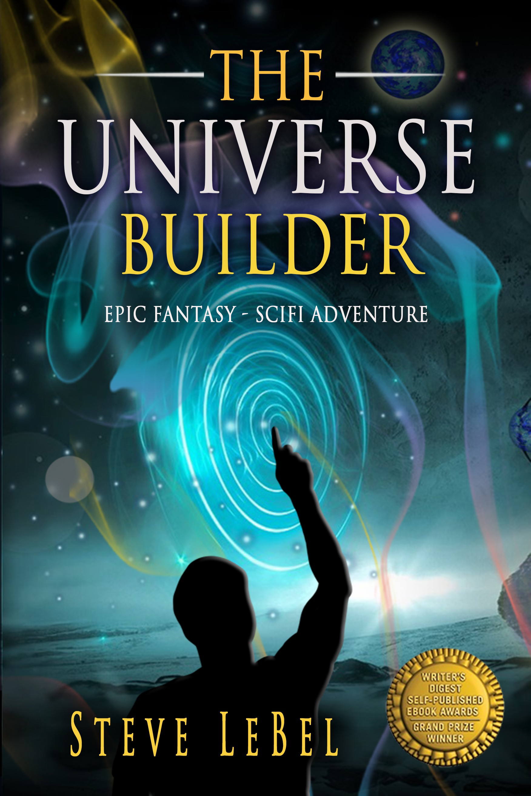 Book cover for a god who builds universes for a living.