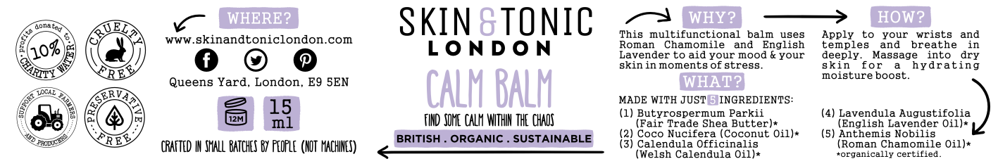Sample Label for Skin & Tonic
