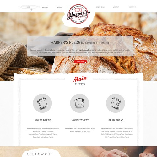 Web Design for bread company