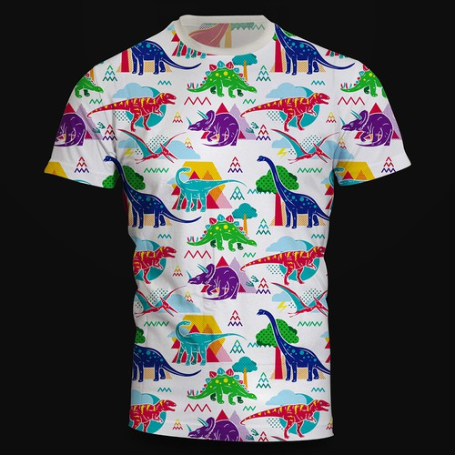 Design a cute dinosaur pattern t-shirt