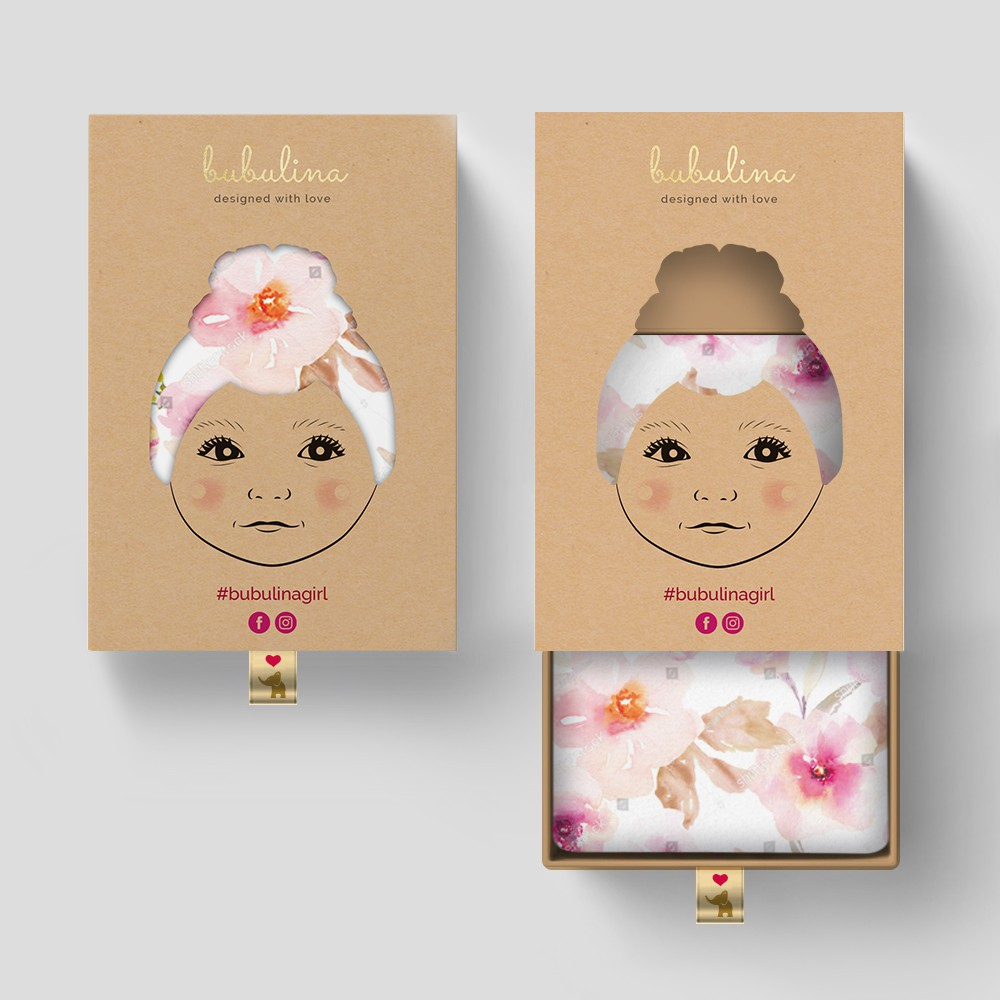 Verpackung für ein Unternehmen, dass Babyturbane handgefertigt produziert
