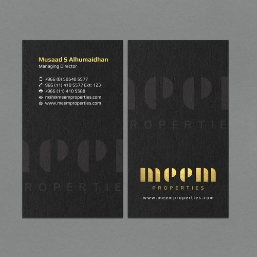 Gold Foil Vertical Business Card Design