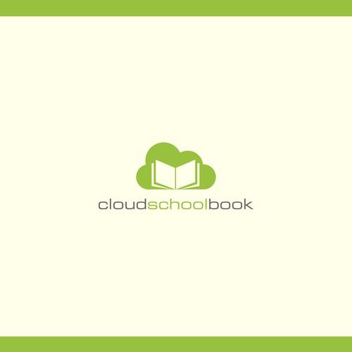 Create a logo with a school book in a cloud