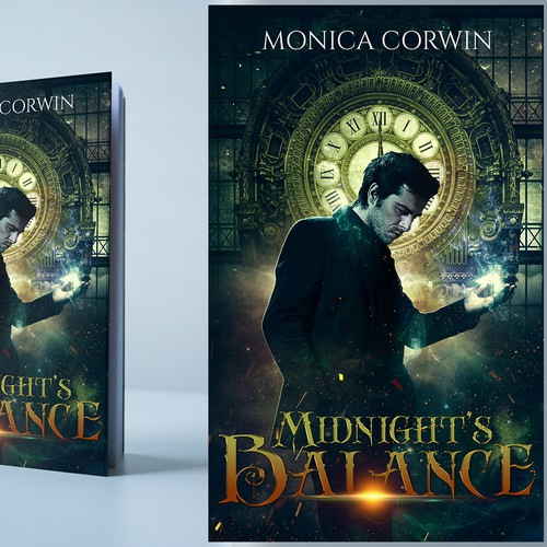 Ebook cover for Monica Corwin's adult urban fantasy book that centers around a paranormal doomsday clock, and the curmudgeonly sorcerer who guards the balance between the magical and non-magical.