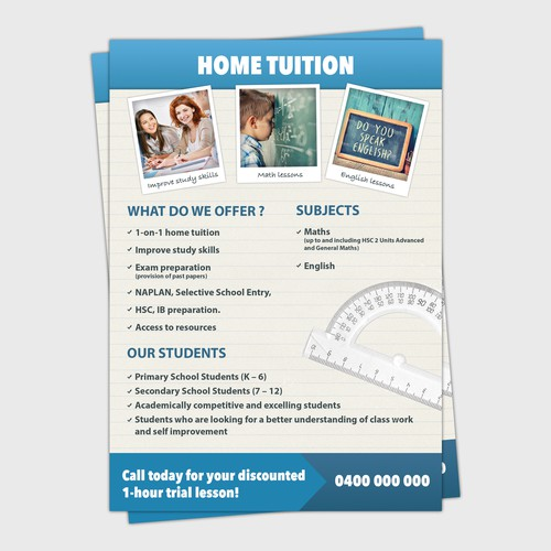 Flyer for home tuition service