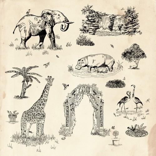 Vintage Rug - Zoo inspired