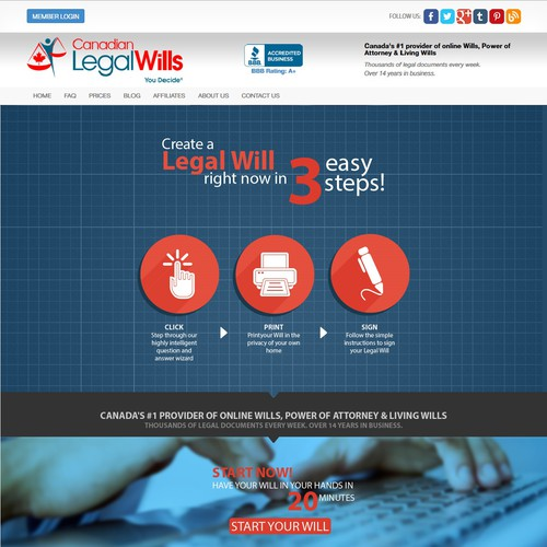 Redesign our existing Landing Page on our Legal Wills web site