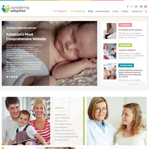 Homepage for Non-Profit Adoption Website