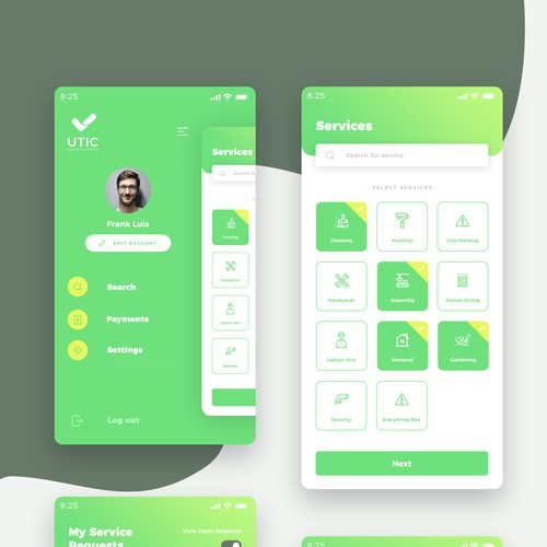 Cleaning and home services iPhone app design