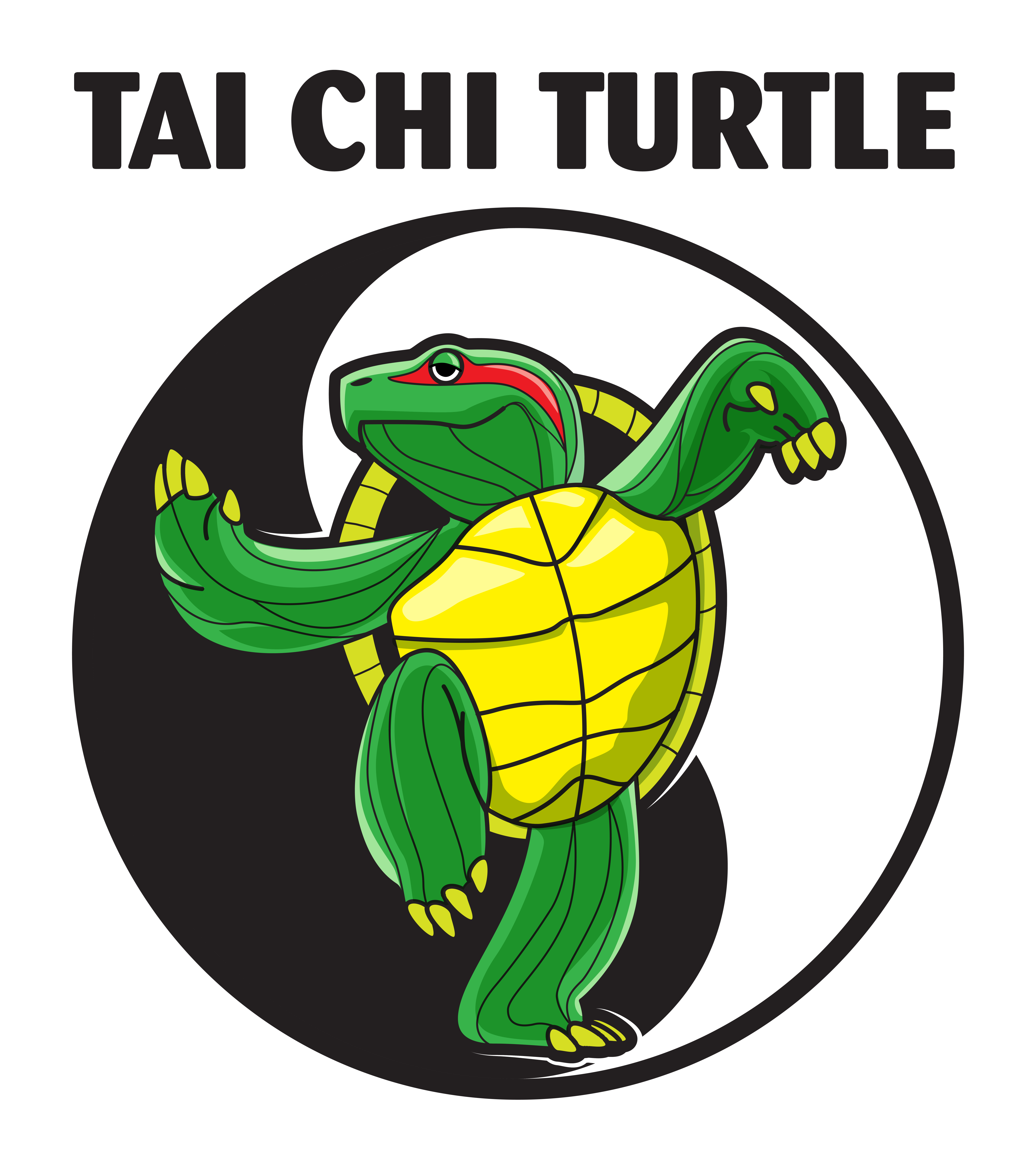 A cute turtle doing Tai Chi. Create a T-Shirt for our fitness company.
