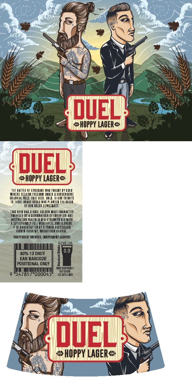 """Design imagery for our new craft beer brew, """"Duel"""" Lager."""