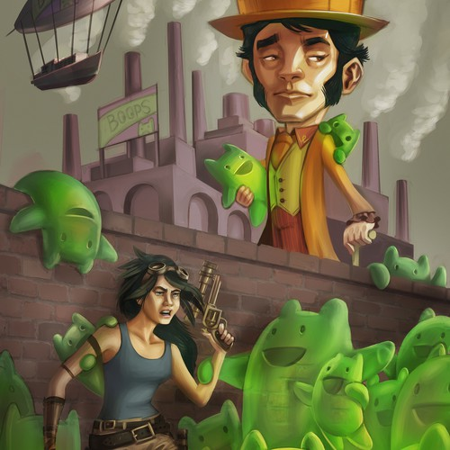 Steampunk Fantasy Book Cover Illustration