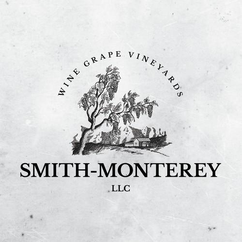 Wine grape vineyard logo design