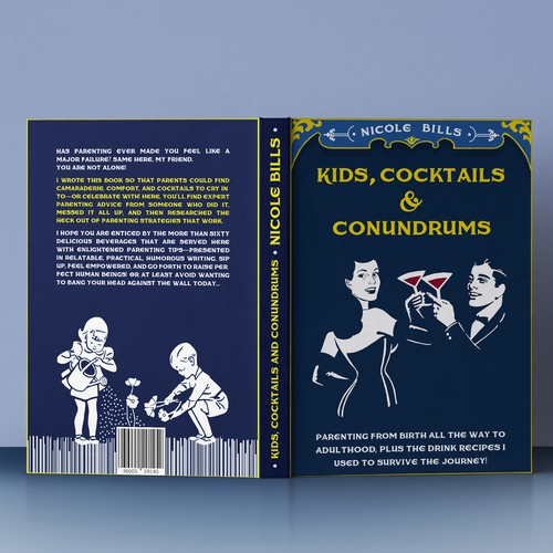 Vintage book cover design about parenting and cocktails