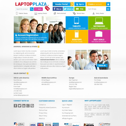 LaptopPlaza.com looking for landing page with a slight header to incorporate button to page